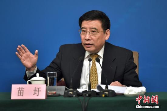 工业和信息化部部长苗圩。<a target='_blank' href='http://www.chinanews.com/'>中新社</a>记者 金硕 摄