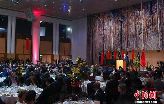 当地时间3月23日中午,中国国务院总理李克强在堪培拉议会大厦出席澳大利亚总理特恩布尔举行的欢迎宴会并发表致辞。 中新社记者 刘震 摄
