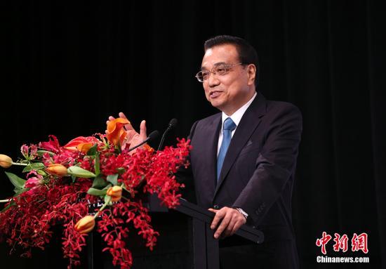 当地时间3月24日下午,中国国务院总理李克强在悉尼与澳大利亚总理特恩布尔共同出席中澳经贸合作论坛并发表演讲。 中新社记者 刘震 摄