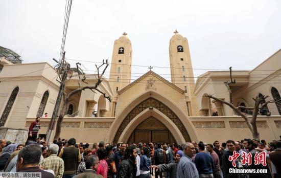 埃及坦塔市一教堂附近4月9日发生爆炸。爆炸发生在科普特基督徒(Coptic Christians)举行宗教活动之时。图为坦塔市的事发教堂。