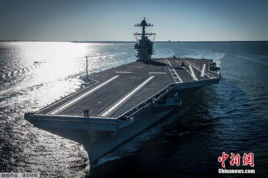当地时间2017年4月8日,美国弗吉尼亚州纽波特纽斯,美国海军福特级核动力航空母舰首舰杰拉德?R?福特号(Gerald R. Ford)离开纽波特纽斯船厂码头,开始进行数日的海试活动。