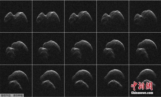"""当地时间4月19日,据NASA发布的消息称,一颗直径约650米的近地小行星以近180万公里的距离""""擦""""过地球,这两天晚上人们借助小型光学望远镜就可以观测到这个""""天外来客""""。图为这颗编号为2014-JO25的天体的雷达图像拼图。"""