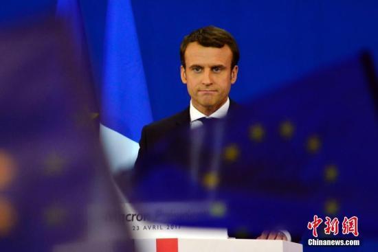 """资料图:法国大选中间派独立候选人、""""前进""""运动领导人艾曼努尔・马克龙。<a target='_blank' href='http://www-chinanews-com.voicenet.net/'>中新社</a>记者 龙剑武 摄"""