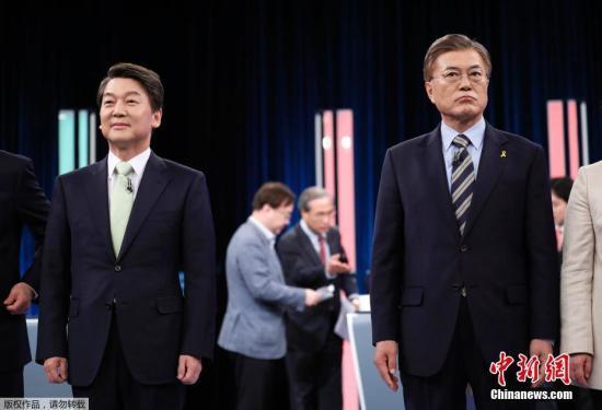 当地时间2017年4月23日,韩国首尔, 韩国大选电视辩论举行。韩国将于5月9日举行总统大选,选出新总统接替遭弹劾的前总统朴槿惠。
