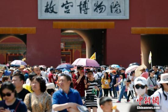資料圖:北京故宮博物院外,游客撐傘抵擋太陽曝曬。 中新社記者 盛佳鵬 攝