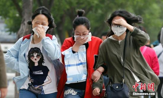 5月5日,北京在大风扬沙中迎来立夏,气象台发布大风黄色预警。当日北京遭遇5、6级偏北风,阵风达8、9级,局地伴有扬沙。中新社记者 廖文静 摄