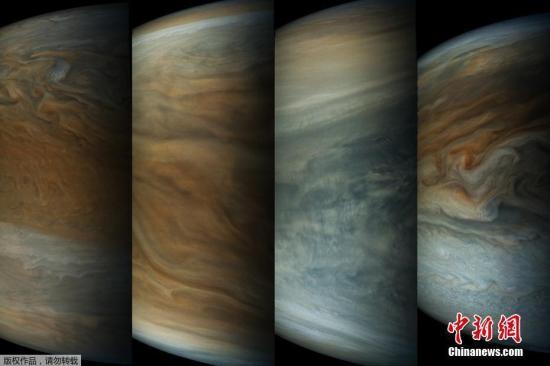 """资料图:木星探测器""""朱诺""""从木星北极到离木星最近点再到南极过程中拍摄的14张图像。"""