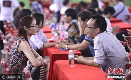 资料图:东莞一相亲会现场,男女嘉宾们交流热切,有讲有笑。图片来源:视觉中国