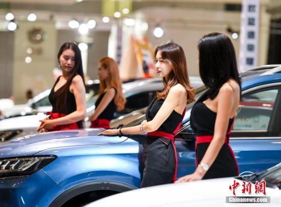 图为靓丽车模为某汽车品牌站台。中新社记者 刘新 摄