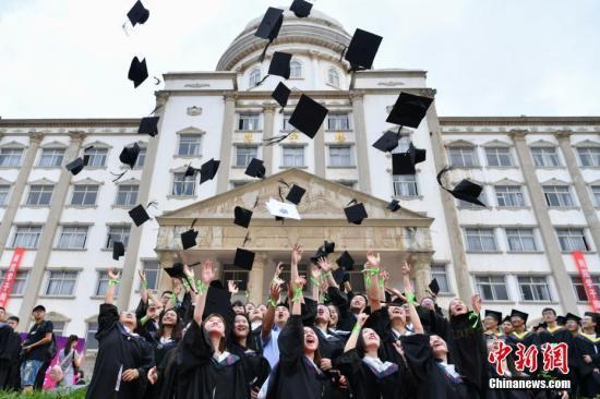 资料图:毕业生抛帽庆祝毕业。中新社记者 任东 摄