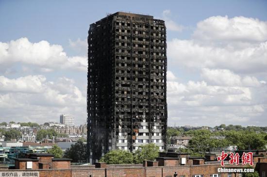 资料图:当地时间2017年6月14日凌晨,伦敦西部一栋24层公寓塔楼起火,伦敦消防局出动了至少45辆消防车和200名消防员进行扑救。英国广播公司(BBC)6月15日援引警方最新消息称,大火死亡人数增至17人,警方预计该数字还会继续攀升。报道称,相关搜救工作将持续数周时间。目前,尚有37人仍在医院接受治疗,其中17人伤势严重。引发大火的原因尚不清楚。图为发生火灾的公寓大楼。