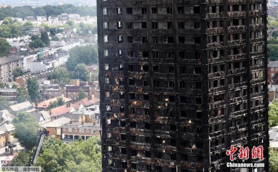 当地时间6月15日,英国伦敦,伦敦发生火灾公寓灭火工作持续。6月14日凌晨,伦敦西部一栋24层公寓塔楼起火,伦敦消防局出动了至少45辆消防车和200名消防员进行扑救。英国广播公司(BBC)6月15日援引警方最新消息称,大火死亡人数增至17人,警方预计该数字还会继续攀升。报道称,相关搜救工作将持续数周时间。目前,尚有37人仍在医院接受治疗,其中17人伤势严重。引发大火的原因尚不清楚。图为15日,消防队对大楼余火灭火工作持续进行。