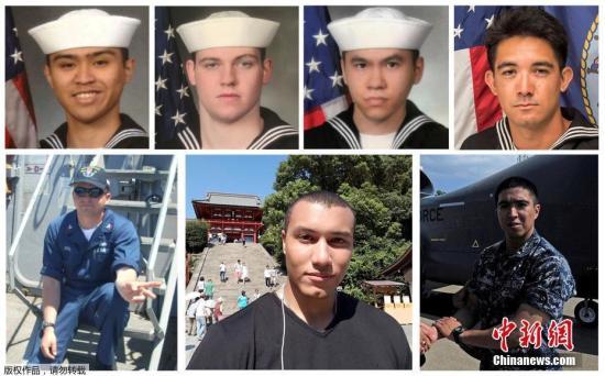 """当地时间6月19日,据日媒报道,关于在日本静冈县伊豆半岛近海发生的美国海军宙斯盾驱逐舰""""菲茨杰拉德""""号与集装箱船相撞事故,美海军表示发现了全部7名失踪乘员,均已死亡。7人年龄为19岁至37岁,当地时间18日上午在舰内浸水的居室部分被发现。图为7名遇难美军士兵。"""