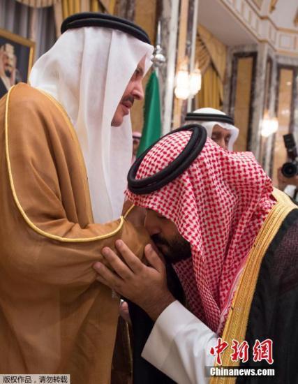 据了解,穆罕默德・本・纳伊夫是沙特国王萨勒曼的亲侄子,此次是沙特两年来第二次更换王储。图为穆罕默德・本・萨勒曼亲吻一位王室成员。