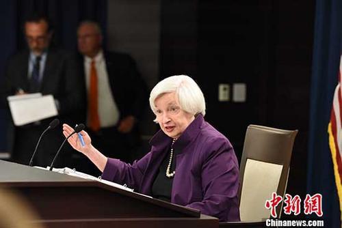 当地时间6月14日下午,美联储主席珍妮特?耶伦在新闻发布会上宣布,将联邦基金利率上调25个基点。这是美联储今年以来第二次加息。 <a target='_blank' href='http://www.chinanews.com/' _fcksavedurl='http://www.chinanews.com/'>中新社</a>记者 邓敏 摄