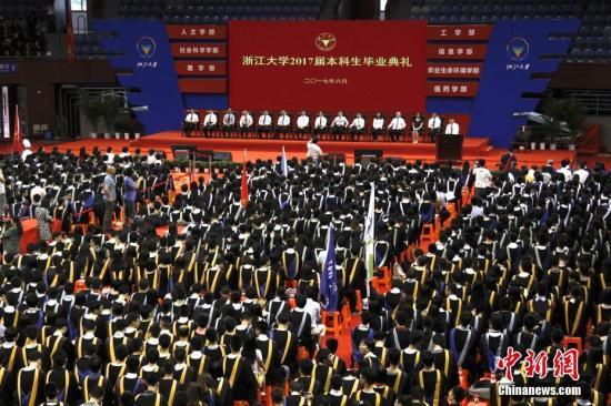 资料图:浙大学生参与学位授予仪式。 中新社记者 夏森森 摄