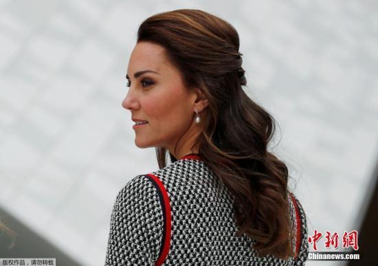 凯特王妃优雅灰裙亮相仪态万千。