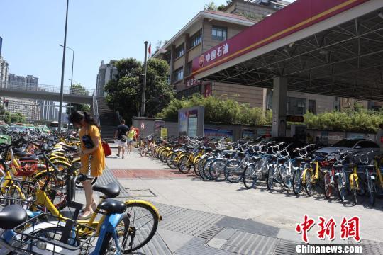 """资料图:共享单车摆成两排""""包围""""成都一加油站。 张浪 摄"""