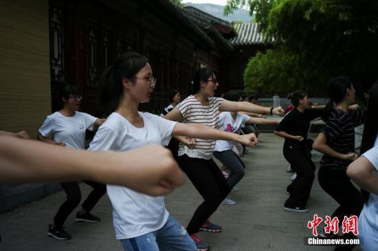 """7月24日,参加""""情系青春两岸青年中原行""""的30名青年来到河南少林寺,进行为期三日的武术训练。图为学员们进行基本功练习。中新社记者 杨程晨 摄"""