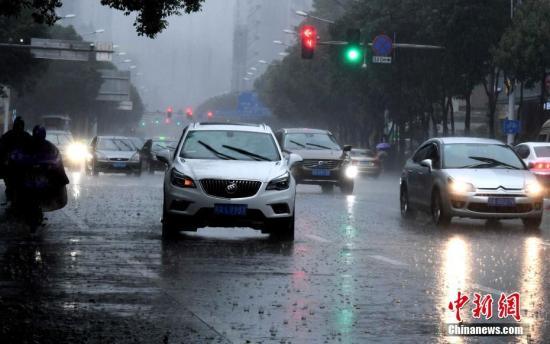 """7月31日上午,台风""""海棠""""给福州带来暴雨,行驶汽车打开车灯前行。今年第10号台风""""海棠""""于当天02时50分在福清市沿海登陆,登陆时中心附近最大风力8级(18米/秒,热带风暴级),中心最低气压990百帕。 刘可耕 摄"""