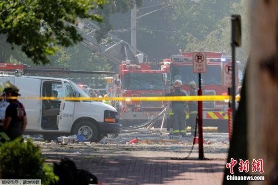 警方封锁事故现场。