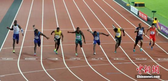 男子100米决赛现场,中国飞人苏炳添获得第八名。 <a target='_blank' href='http://www.chinanews.com/'>中新社</a>记者 韩海丹 摄
