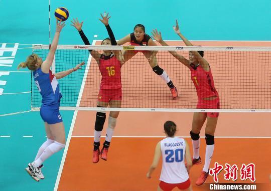 2017世界女排大奖赛 中国队惜败塞尔维亚队无缘奖牌。 泱波 摄