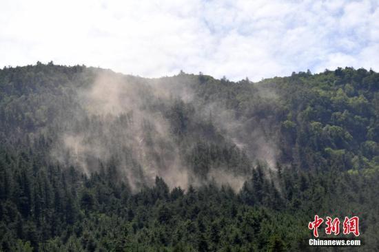 8月11日,九寨沟景区大门一侧山体出现滑坡情况,泥土在林间扬起。据国家地震台网官方消息,截至8月11日8时0分,共记录到余震总数为2318次,其中6.0�D6.9级地震0次,5.0�D5.9级0次,4.0�D4.9级3次,3.0�D3.9级23次,目前最大余震4.8级。 中新社记者 张浪 摄