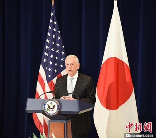 原料图:美国国防部长马蒂斯。 中新社记者 邓敏 摄