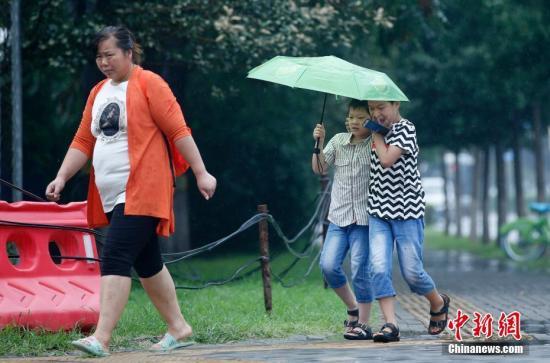 8月19日,北京市大兴区,市民在雨中出行。当日,北京市大兴区遭遇阵雨天气。 中新社记者 刘关关 摄