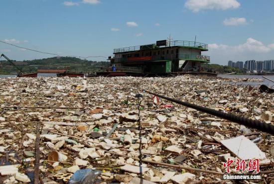 资料图:长江重庆段江面上出现大量垃圾。 周毅 摄