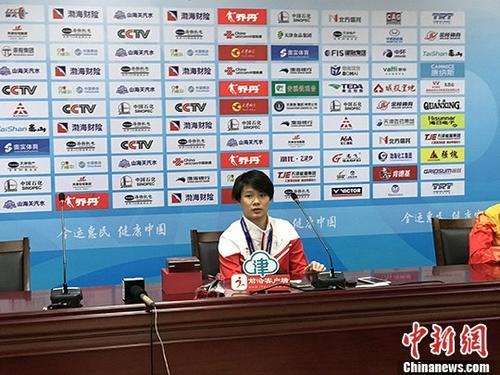 8月28日,施廷懋在女子3米板赛后发布会上。 <a target='_blank' href='http://www.chinanews.com/'>中新社</a>记者 马化宇 摄