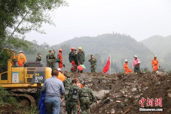 8月29日,贵州纳雍山体塌方救援现场。 <a target='_blank' href='http://www.chinanews.com/'>中新社</a>记者 瞿宏伦 摄