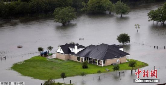 """资料图:飓风""""哈维""""给休斯敦带来强降雨,城区及周边区域洪涝严重。"""