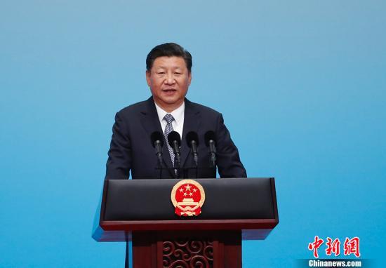 9月3日,国家主席习近平在厦门国际会展中心出席金砖国家工商论坛开幕式,并发表主旨演讲。中新社记者 杜洋 摄