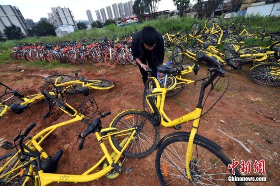 9月9日,一位民众在凌乱堆放的共享单车里扫码。中新社记者 李进红 摄