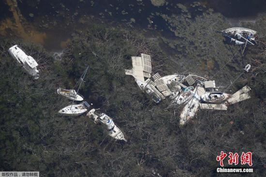 资料图为在飓风中被毁的船只。