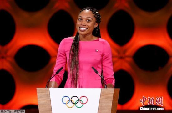 """美国女子田径选手埃里森?菲利克斯在大会上做陈述。不同于往日各国为了申办权争得""""头破血流"""",这次申奥的过程更像是一场""""没有硝烟的战斗""""。"""