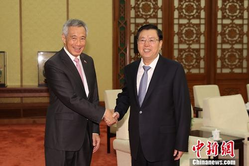 9月20日,中国全国人大常委会委员长张德江在北京人民大会堂会见新加坡总理李显龙。中新社记者 盛佳鹏 摄