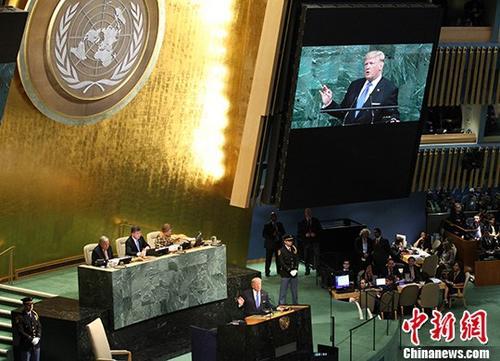 9月19日,第72届联合国大会一般性辩论在纽约联合国总部开幕。图为首次参加一般性辩论的美国总统特朗普在发言。 中新社记者 马德林 摄