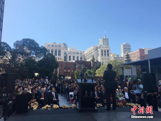 当地时间9月22日,美国旧金山市圣玛丽广场,,慰安妇雕像揭幕仪式隆重举行,这也是美国主要大城市第一座慰安妇雕像。 /p中新社记者 刘丹 摄