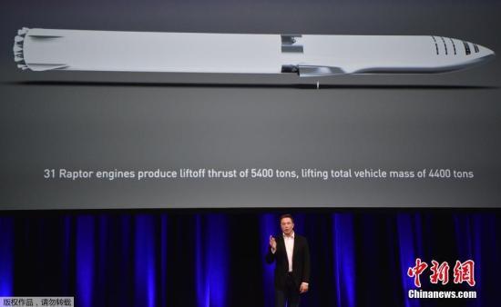 资料图;当地时间9月29日,美国太空探索技术公司SpaceX首席执行官伊隆·马斯克在澳大利亚阿德莱德举行的第68届国际宇航大会上发表演讲。马斯克称,SpaceX的新型火箭BFR时速最高可达2.9万公里,我们可以利用它在一个小时内到达地球上的任何一个地方。按这个速度计算,从美国纽约到上海大概只需要39分钟。他还在会上展示了SpaceX的月球和火星计划,包括为国际空间站提供补给,登陆月球,并在2022年开始登陆火星任务。