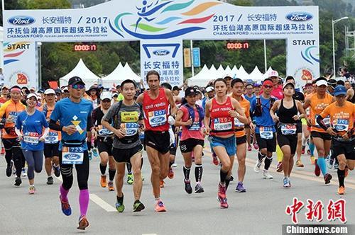 马拉松比赛现场。 <a target='_blank' href='http://www.chinanews.com/'>中新社</a>记者 李进红 摄