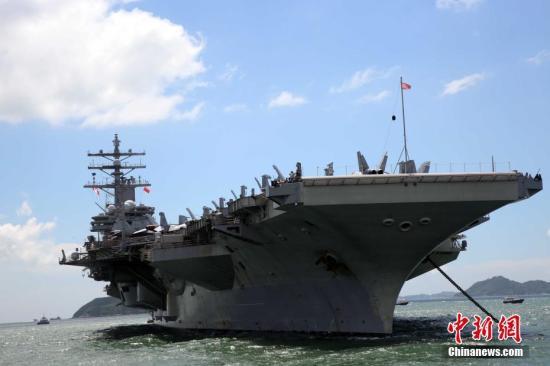 """资料图:美国航空母舰""""里根号""""。记者 洪少葵 摄"""