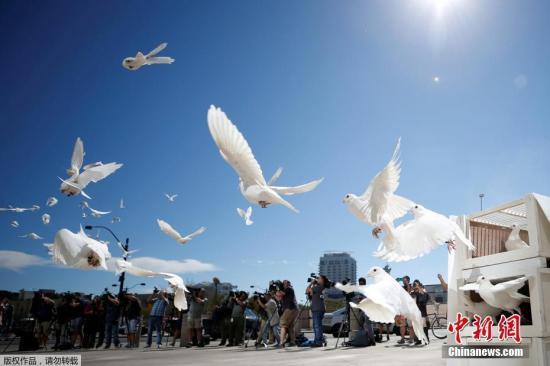 资料图:当地时间2017年10月7日,美国拉斯维加斯市政厅举行活动悼念枪击案遇难者,市政广场放飞白鸽。