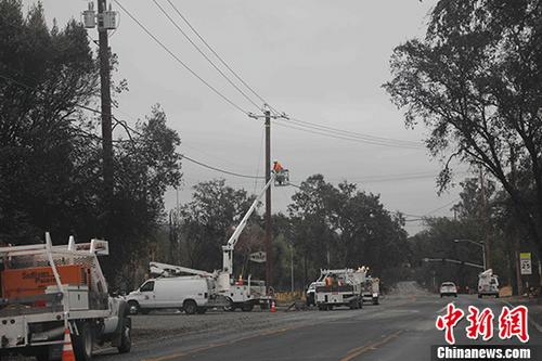 当地时间10月19日,美国加州圣塔罗莎市,太平洋煤电公司抢修电力,恢复当地供电。自8日凌晨发生的纳帕谷森林大火已致42人死亡,消防人员已控制绝大部分火势. 中新社记者 刘丹 摄