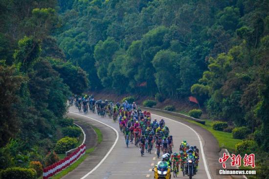 10月29日,2017第十二届环海南岛国际公路自行车赛进行第二赛段的比赛。图为选手们在绿茵环绕的公路骑行。 中新社记者 骆云飞 摄
