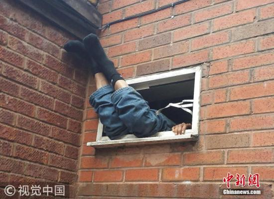 当地时间2017年11月2日,英国西米德兰兹郡,一个倒霉的小偷准备闯进一家鸡肉店,不幸被卡在窗户上5小时。图片来源:视觉中国