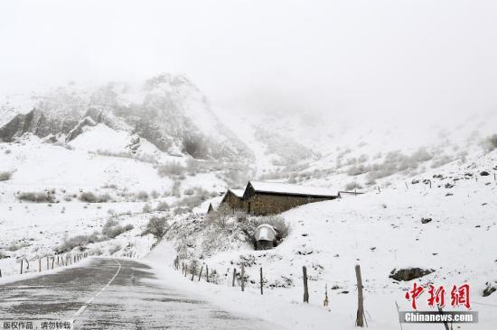 资料图:冬季的阿尔卑斯山脉。