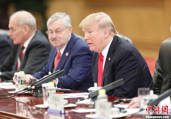 特朗普在会谈中。<a target='_blank' href='http://www.chinanews.com/'>中新社</a>记者 杜洋 摄